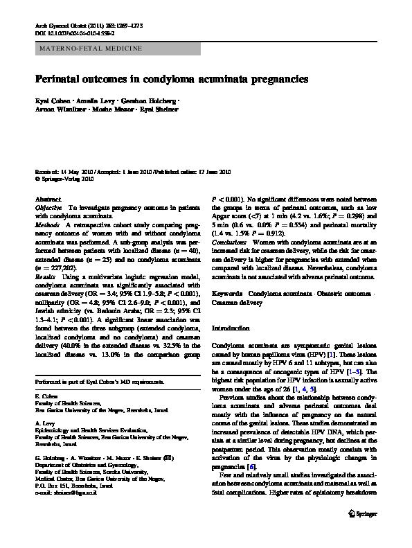 condyloma acuminata newborn