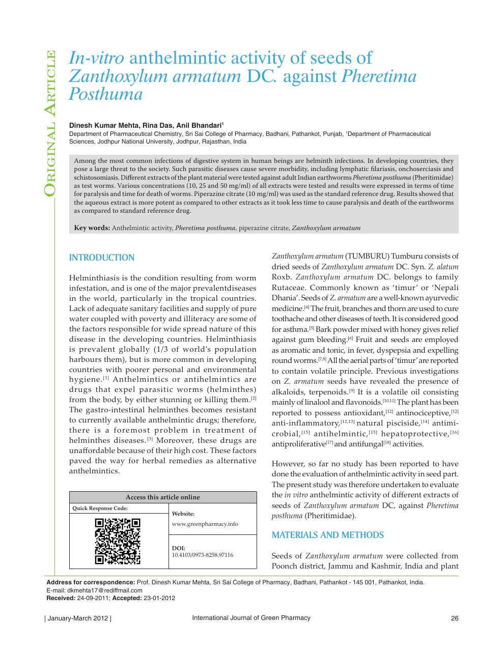 anthelmintic property positivo per virus hpv