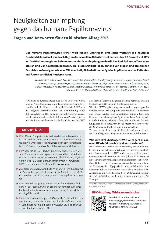 hpv impfung risiken 2020