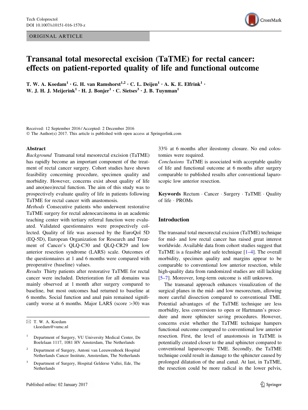 rectal cancer quality of life
