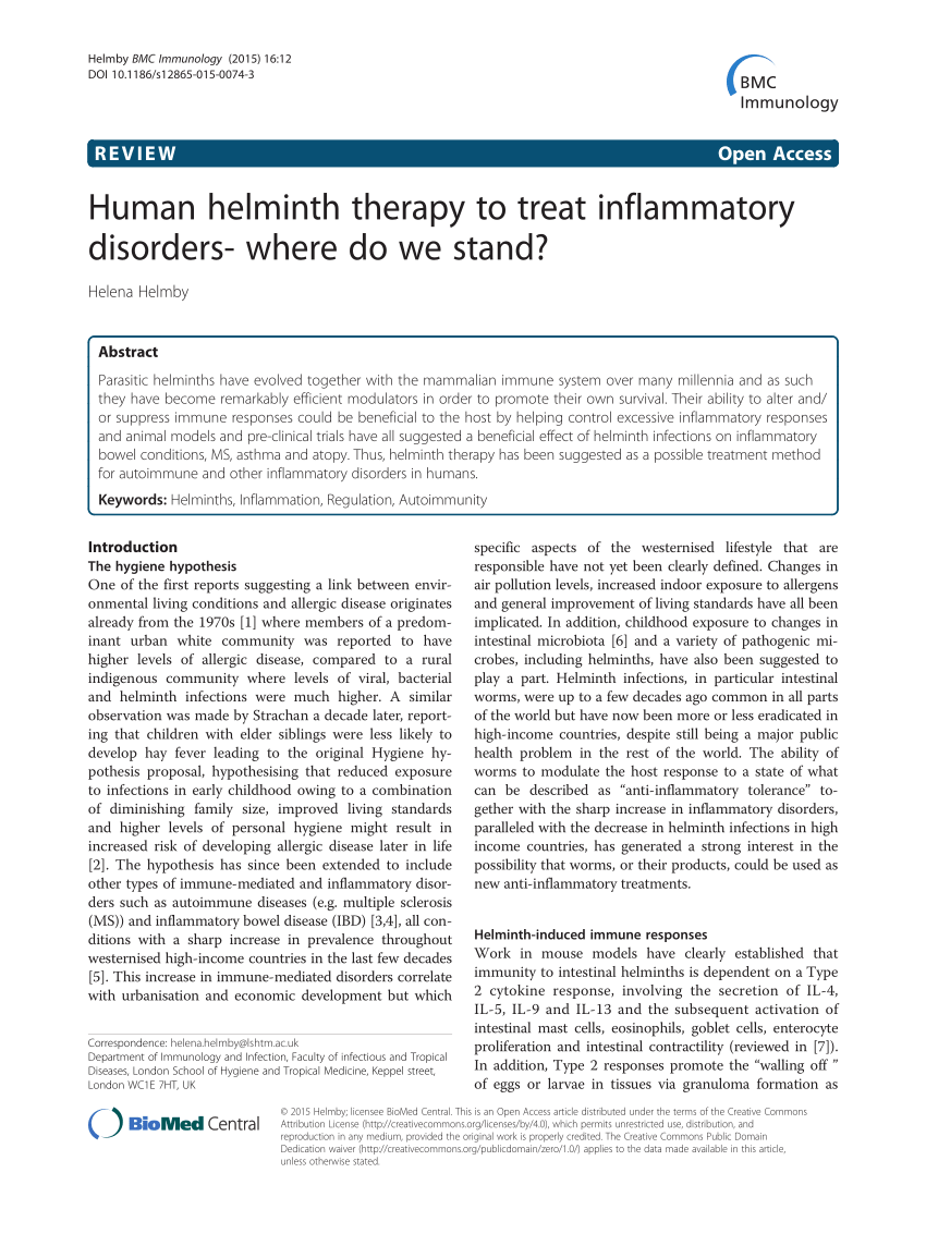 helminthic therapy evidence