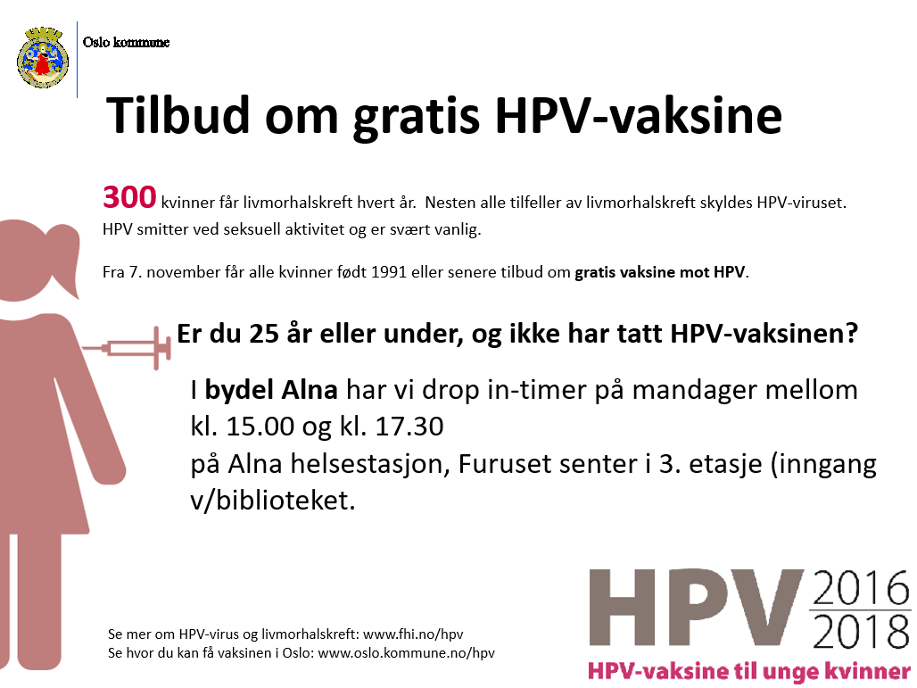 hpv vaksine oslo drop in