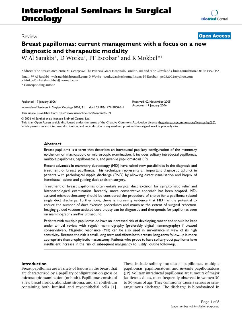 Duct papilloma investigation - Infecții cu helmint