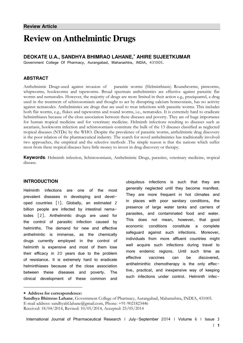 veteran medicament antihelmintic