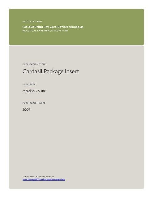 hpv gardasil package insert cancer non metastatic