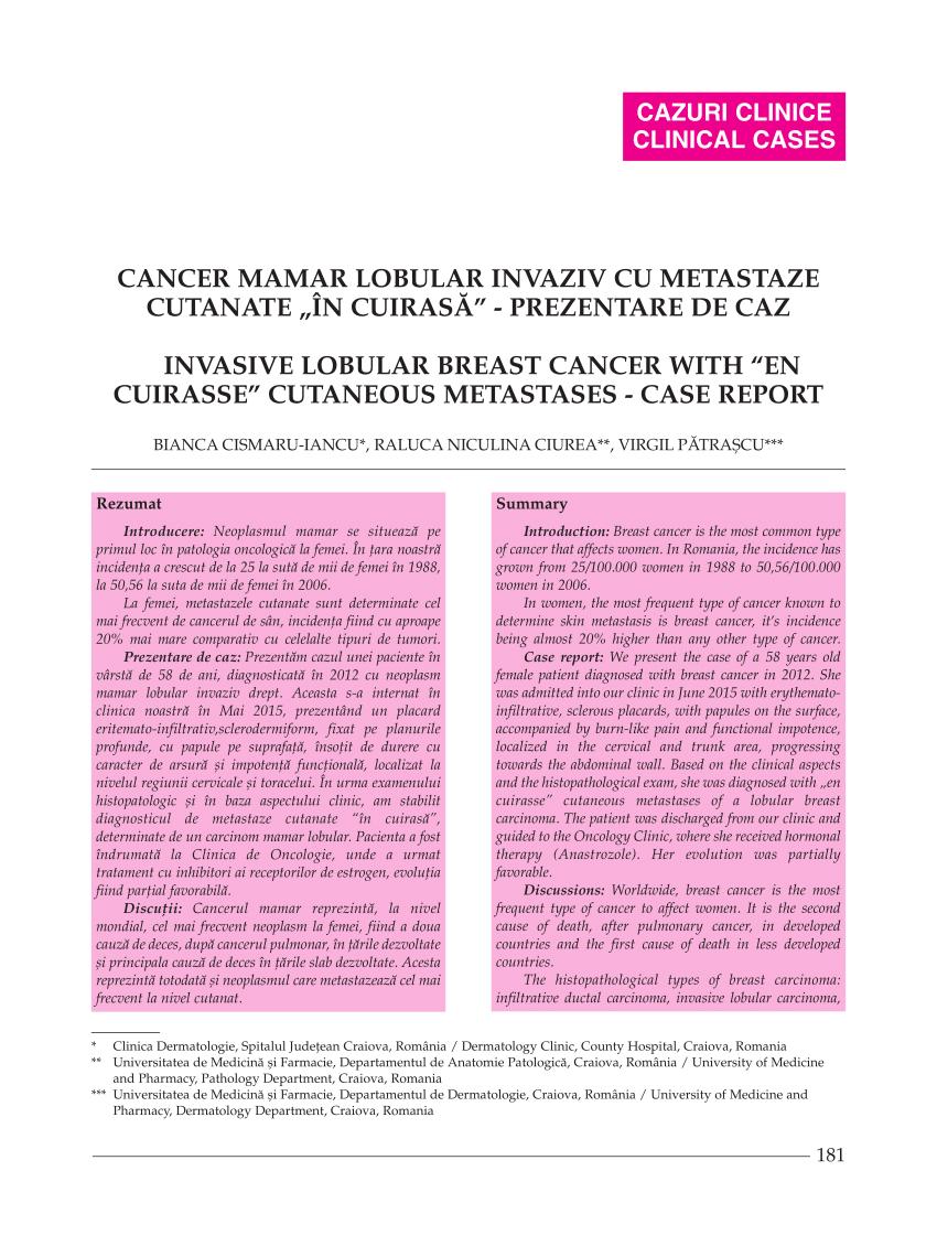 cancerul mamar oncologie