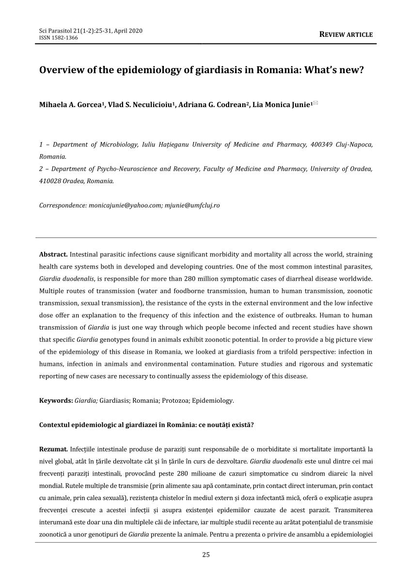 transmisia zoonotică a giardiei