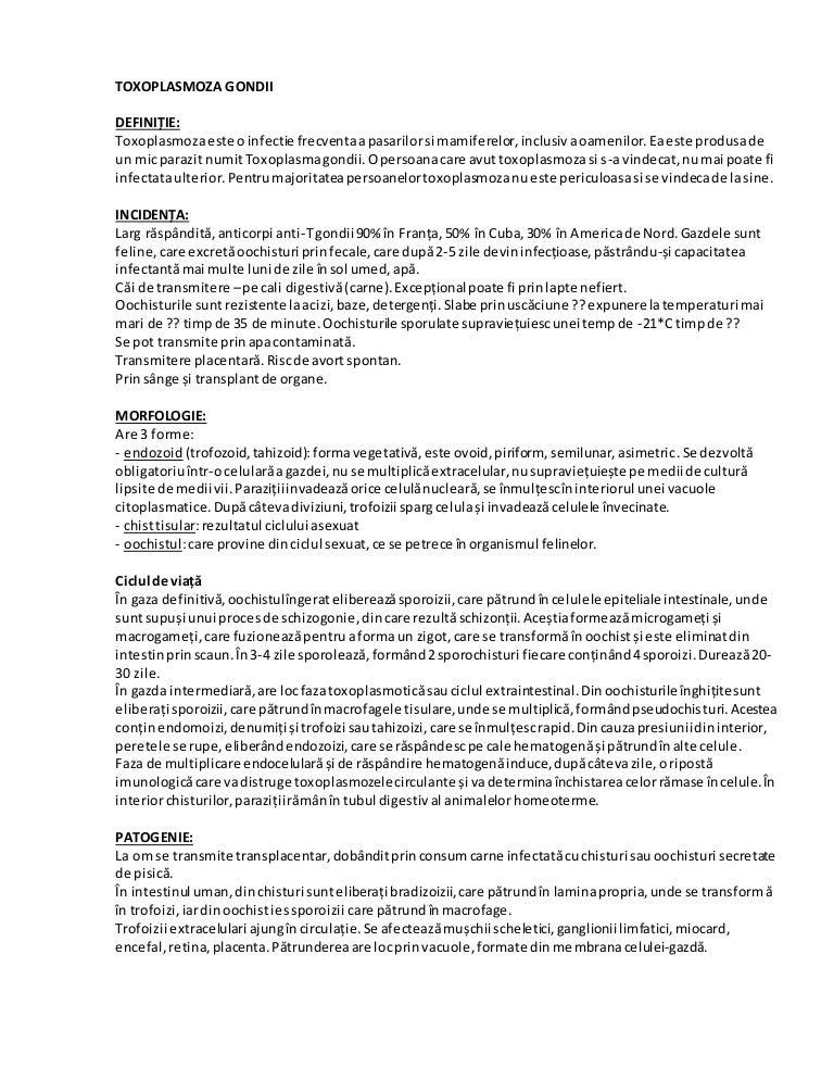 tratament cu parazit toxoplasmoză