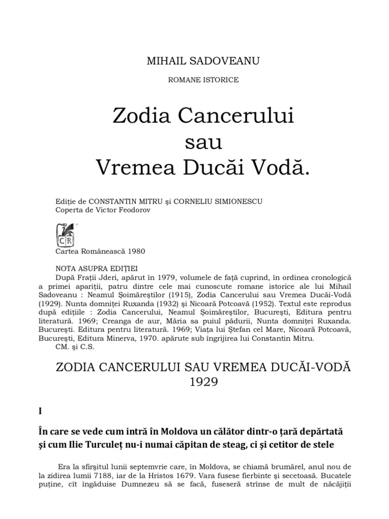 Mihail Sadoveanu – Zodia Cancerului - Citeşte mult, ca Dumnezeu ...